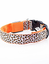 Cat / Dog Collar LED Lights / Adjustable/Retractable / Electronic/Electric / Rechargeable Leopard Green / Orange Nylon