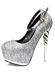 Damen-High Heels-Lässig-KunstlederKomfort-Schwarz / Silber / Gold
