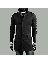 Men's Casual/Daily Simple Trench Coat,Solid Long Sleeve Beige / Black Cotton Medium