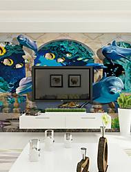 JAMMORY 3D Wallpaper Contemporary Wall Covering,Canvas Stereoscopic Large Mural  Marble Deep Sea Fish Landscape