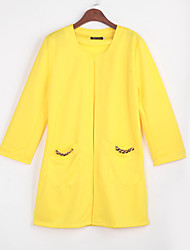 Mr.ou Women's Solid Color Pink / Green / Yellow Coats & Jackets , Sexy / Casual / Work Round Long Sleeve