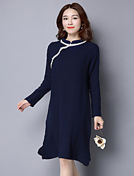 Sign literary retro Chinese style loose long-sleeved dress bottoming dress collar Xie Jin