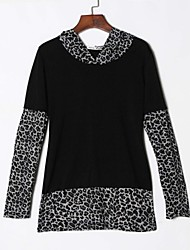 Women's Print Leopard Splice Casual Sexy T-shirt , Hooded Long Sleeve