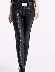 Feminino Skinny Chinos Calças-Cor Única Casual Simples Cintura Média Zíper / Botão Algodão / Poliéster Micro-Elástico Inverno