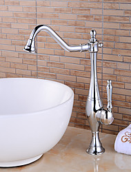Contemporary Centerset Rotatable with  Ceramic Valve Single Handle One Hole for  Chrome , Kitchen faucet