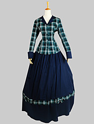 Outfits Classic/Traditional Lolita Victorian Cosplay Lolita Dress Plaid Long Sleeve Ankle-length Top Skirt For Cotton
