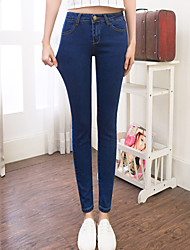 Women's Skinny Slim Jeans PantsGoing out Street chic Solid High Rise Button Cotton Micro-elastic Winter