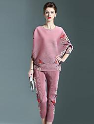 Dames Vintage Herfst Set Pantalon Suits,Casual/Dagelijks Bloemen Ronde hals Lange mouw Blauw Roze Grijs Polyester