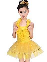 Latin Dance Dresses Children's Spandex Tulle Ruffles Sequins Natural