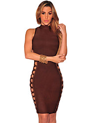 Women's Mocha Lace up Contour Bandage Dress