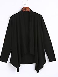 Veste Femme,Couleur Pleine Sortie / Décontracté / Quotidien simple / Chic de Rue Printemps / Automne Manches Longues Drapé Noir Polyester