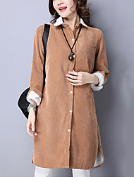 Women's Casual/Daily Street chic Fleece Lining Coat Solid Shirt Collar Long Sleeve Fall /Winter Blue /Brown /Gray Corduroy Thick