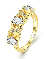 Mothers Rings Classic 18K/Rose/White Gold Plated Simple Round Inlaid Cubic Zirconia Rings Fashion Jewelry for Party