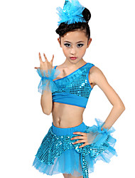 MiDee Latin Dance Outfits Children's Spandex Sequins Natural