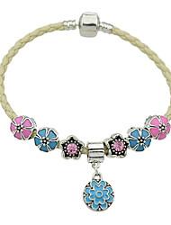 Fashion Braided Rope Chain Enamel Flower Charms Bracelets
