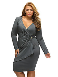 Women's Asymmetric Wrap Long Sleeve Dress