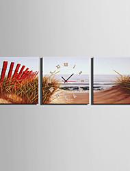 Moderne/Contemporain Autres Horloge murale,Carré Toile 25 x 25cm(10inchx10inch)x3pcs Intérieur Horloge