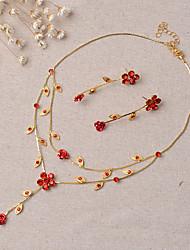 Schmuck Halsketten Ohrringe Braut-Schmuck-Sets Set Hochzeit Party 1 Set Damen Goldfarben Hochzeitsgeschenke