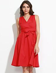 Gaine Robe Femme Décontracté / Quotidien / Grandes Tailles Vintage,Couleur Pleine Col en V Maxi Sans Manches Rouge Coton / Polyester Eté