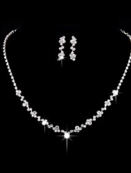 Jewelry 1 Necklace 1 Pair of Earrings Rhinestone Wedding Party Alloy Rhinestone Silver Plated 1set Women Silver Wedding Gifts