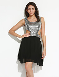 Women's Club Sexy A Line Dress,Patchwork Round Neck Mini Sleeveless Gold / Silver Cotton Summer Micro-elastic Thin