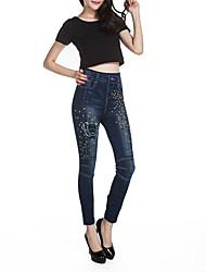 Feminino Delgado Jeans Chinos Calças-Estampado Casual Simples Cintura Média Elasticidade Others Com Elástico Com Molas Outono