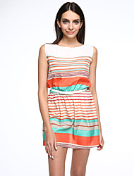 Women's Fine Stripe Striped Dress,Round Neck