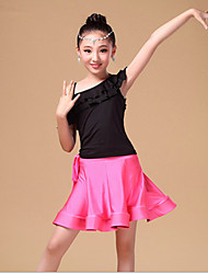 Latin Dance Dresses Children's Performance Chinlon Milk Fiber Ruffles Sash/Ribbon 2 Pieces Sleeveless High Top Skirt Waist Belt