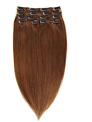 clip remy vierge cheveux humains extensions 7pieces / set # 6 14-20inch 70g 22inch 100g