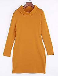 Mujer Vaina Vestido Noche Simple,Un Color Cuello Alto Mini Manga Larga Rojo / Amarillo Algodón Otoño Tiro Medio Elástico Grueso