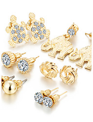 6 PCS/Set Fashion 2017 Crystal Elephant Stud Earrings Set Gold Color Earrings For Women Vintage Jewelry Piercing Brincos