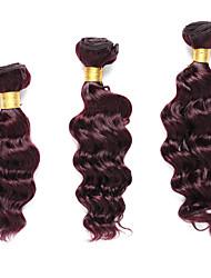 3 Bundles TRES JOLIE Deep Wave 100% Human Hair 10Inch 12Inch 14Inch Dark Wine Human Hair Weaves