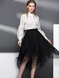 YIPINWAN  Women's Casual/Daily Simple Fall ShirtEmbroidered Shirt Collar Long Sleeve White / Black Rayon