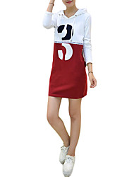 Women's Casual/Daily Simple Sheath Dress,Letter Hooded Above Knee Long Sleeve Red Cotton Fall / Winter High Rise Micro-elastic Thin