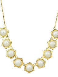 Gold Plated Imitation Pearls Collar Necklaces for Women