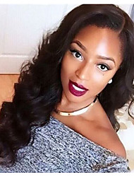Natural Black Color Side Part  Body Wave Hairstyle Brazilian Virgin Human Hair Lace Front Wig With Baby Hair