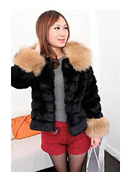 Women's Going out Casual/Daily Simple Fur Coat,Solid Round Neck Long Sleeve Winter Beige Black Faux Fur Thick