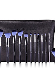 MSQ New 12pcs Makeup Brushes Set Alminium Ferrule Cosmetic Tool Professional Makeup Brush High Quality Synthetic Hair With PU Leather Case(Blue)