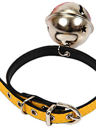 Dog Collar With Bell / Casual Solid Yellow PU Leather