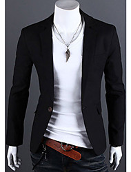 Blazer Hommes,Couleur Pleine Décontracté / Quotidien Grandes Tailles Manches Longues Lin