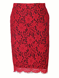 Damen Übergrössen Röcke,Bodycon einfarbig Spitze Geschlitzt,Lässig/Alltäglich Klub Vintage Street Schick Hohe Hüfthöhe Knielänge