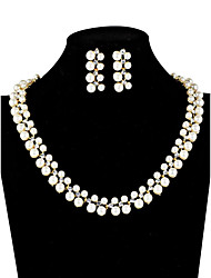 Women's Jewelry Set Pearl Bridal Costume Jewelry Pearl Imitation Diamond 1 Necklace 1 Pair of Earrings For Wedding Daily Wedding Gifts