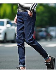 Hommes Slim Jeans Pantalon,simple Décontracté / Quotidien Couleur Pleine Taille Normale fermeture Éclair Coton Micro-élastiqueToutes les