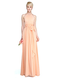 LAN TING BRIDE Floor-length Jewel Bridesmaid Dress - See Through Sleeveless Chiffon