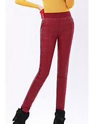 Feminino Tamanhos Grandes Skinny Chinos Calças-Cor Única Casual Simples Cintura Alta Elasticidade Poliéster Micro-Elástico Inverno