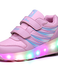 Kids LED Shoes Girl's Sneakers Comfort Synthetic Athletic / Casual Flat Heel LED Black / Pink