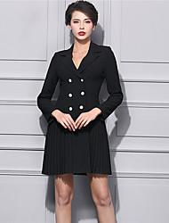 BAOYAN Women's Casual/Daily Street chic Loose DressSolid V Neck Above Knee Long Sleeve Black Rayon Winter High Rise Micro-elastic Medium-888187