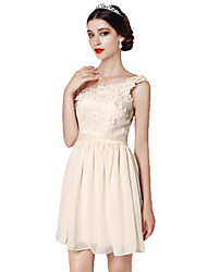 Short / Mini V-neck Bridesmaid Dress - Mix & Match Sets Sleeveless Chiffon Lace