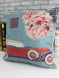desenhos animados do carro do estilo de pintura a óleo e flor casa algodão criativo e linho fronha decorativo