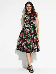Women's Modest Ladies 50s Floral Swing Vintage Dress